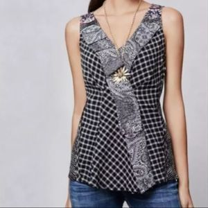 One September plaid ruffle patchwork Top